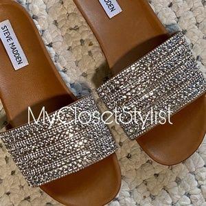 STEVE MADDEN Crystal Sandals new 8 1/2tan .5Slides